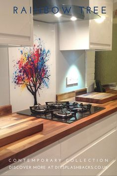 Create a work of art with an image splashback. Glass splashbacks are both hygienic and completely customisable. Choose any design, or image in any size. For more kitchen design ideas visit http://www.diysplashbacks.co.uk/printed-glass-splashbacks/contemporary-splashbacks.aspx