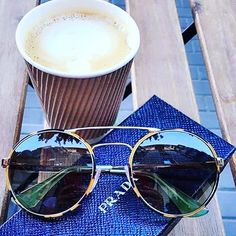 Piping hot coffee and sizzling Prada style. Shop these sunnies and more.