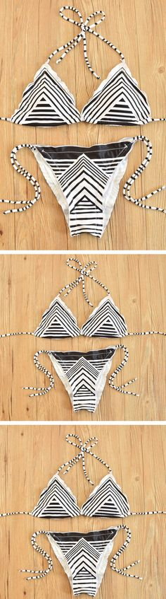 Black Striped Halter Bikini