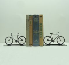 Bicycle Metal Art Bookends - FREE USA Shipping. $49.99, via Etsy.