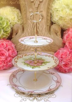 Pink China Cake Tier  3 Tier Cake Stand for by HelensRoyalTeaHouse