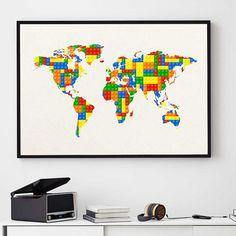 LEGO World Map Print Nursery Decor Colorful Map Art by PointDot