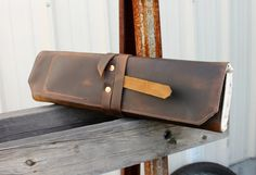 Leather+knife+roll++Small++Brown+pull+up+by+JAWLeatherGoods,+$119.00