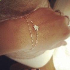 Medium Heart Bracelet - Layered Bracelet - Heart Initial Layered Bracelet - All Sterling Silver - Personalization Gift. $24.50, via Etsy.