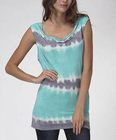 Look what I found on #zulily! Mint & Gray Tie-Dye Scoop Neck Top #zulilyfinds