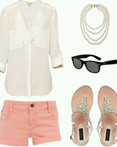 White shirt, pearl necklace, sunglasses, pink shorts and sandals for ladies. Click on the pic for more outfits