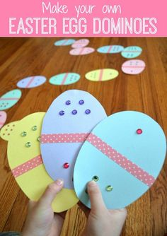 Easter Egg Dominoes a great DIY game for kids to play this spring while working on numbers or colors!