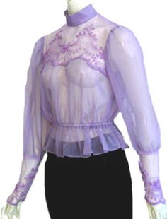 Sheer Lilac Vintage 70s Blouse