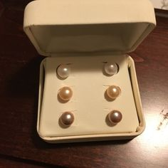 Button Pearl earrings Brand new in box - never worn.  Cream, pale pink and pale brown pearl earrings. Jewelry Earrings