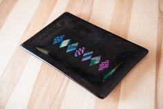 Black fused glass plate with dichroic diamon by TwinkieMedia, $50.00