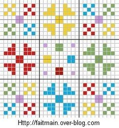Cross-stitch biscornu ... no color chart available, just use the pattern chart as your color guide.. or choose your own colors...