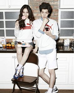 "f(x) Krystal and model Ahn JaeHyun coupled up as models for | ""PUMA"""