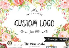 Custom Floral Watercolor Logo Design Premade Logo Flower Logo Photography Logo Etsy Shop Logo Business Logo Website Logo Blog Logo Boutique Logo  --------------------------------------------  For the process, timeframe and whats included in the package of PAY AS YOU GO please go to - www.etsy.me/1Qr20Kd  ***A pre-purchase consultation is required for all custom logo design packages at my shop. Please convo me before you place your order. Thank you.***   Got any questions? Please visit the…