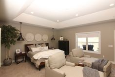 Custom master bedroom. With carpet #AmazingGrey wall paint