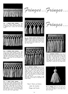 Crochet Edging And Borders How to Make Fringe and Tassels - Vintage Crafts and Crochet Fringe, Knit Or Crochet, Crochet Shawl, Crochet Stitches, Crochet Edgings, Easy Crochet Projects, Crochet Crafts, Crochet Borders, Crochet Patterns