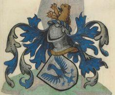 Armorial de la Table ronde.  Date d'édition :  1490-1500  Ms-4976  Folio 58r