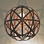 BALI BALL ROUND-Timber 750 Light-Walnut Hand made feature Pendant light,Looks great in Entry voids on its own or in a cluster formation in different sizes!!