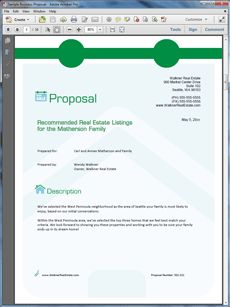 Real Estate Agency Listings Sample Proposal -  Create your own custom proposal using the full version of this completed sample as a guide with any Proposal Pack. Hundreds of visual designs to pick from or brand with your own logo and colors. Available only from ProposalKit.com (come over, see this sample and Like our Facebook page to get a 20% discount)