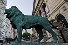 The Lions.  Guarding the Chicago Art Institute, a pair of these statues flank each side of the entrance.  ~ Chicago, Illinois