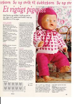 Album Archive - Dukketøj til Baby Born 2 - Ingelise Knitted Doll Patterns, Doll Sewing Patterns, Knitted Dolls, Doll Clothes Patterns, Reborn Dolls, Baby Dolls, Baby Knitting, Crochet Baby, Baby Born Kleidung