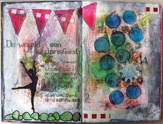 Art Journaling en Mixed Media : De wereld, een dansfeest.