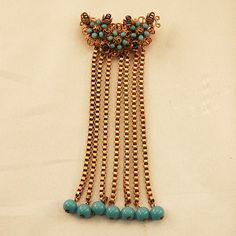 Very Unusual Stanley Hagler Signed Brass and Glass Beaded Brooch