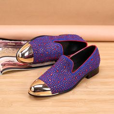 >> Click to Buy << Choudory New Flat Wedding Shoes Genuine Leather Fashion Rhinestones Blue Red Mens Loafers Dress Shoes Men Slip On Casual Shoes #Affiliate