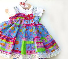 Colorful Cotton Baby Dress Baby Girl Clothes 1st door BerryPatchUSA, $42.00