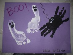 Footprint and hand print art. What a great way to be able to look back and see how they've grown...