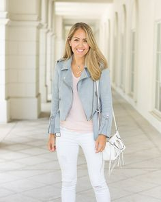 Inspiration: Hautelook   A few weeks ago I traveled to the west coast and wore this look (with sneakers) for my flight! So often casual outfits contain dark colors or blue jeans, so it was really fun to mix things up with a lighter color palette. I got the jacket from Zara while we