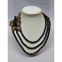 Black Agate Multi Strand Seed Beads Statement Layered Long Necklace,... ($160) ❤ liked on Polyvore featuring jewelry, necklaces, long multi chain necklace, black agate necklace, long gemstone necklaces, seed bead necklace and gemstone jewelry