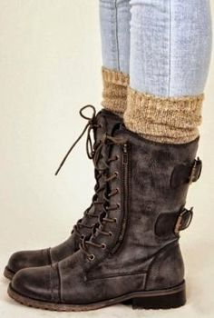 Ladies Fashion: Perfect Combat Boots Fashion Style.