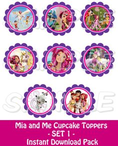 Mia and Me  Cupcake Toppers  SET 1  Printable  by JustAddFrosting, $4.00