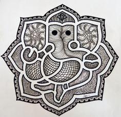 Zentangle Ganesha 70 by Frances Banks