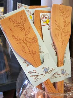 Birds Etched into Birchwood Spoons