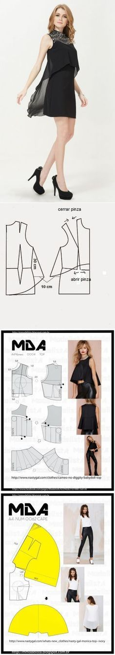 Cape on a dress (almost a pattern) \/ Diy Dresses \/ the hands - patterns, alteration of clothes, an interior decor the hands - from Second Street Diy Clothing, Sewing Clothes, Clothing Patterns, Dress Patterns, Sewing Patterns, Diy Kleidung, Modelos Fashion, Diy Fashion, Fashion Design
