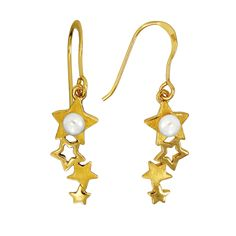 Tumbling Stars Earrings in Yellow Gold over Sterling Silver