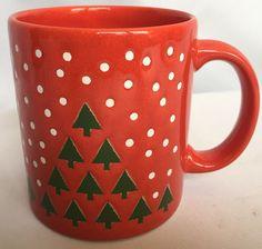 Waechtersbach Christmas Trees And Snow Mug Red Germany Ceramic Coffee Tea Cup #Waechtersbach