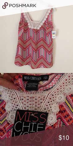 Tank Top NWT Colorful and light. Layer into Fall. From Macy's. Miss Chievous Tops Tank Tops