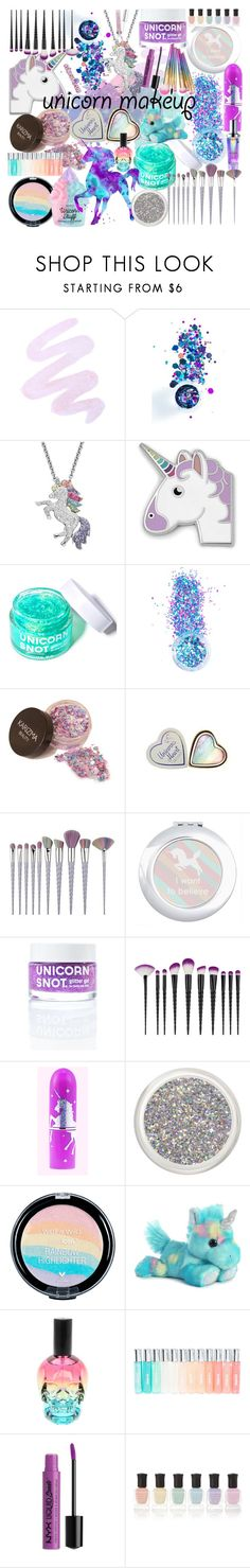 """🦄 u n i c o r n 🦄 m a k e u p 🦄"" by ashleythesm ❤ liked on Polyvore featuring beauty, Winky Lux, In Your Dreams, Artistique, FOSSIL, FCTRY, Hot Topic, NYX and Deborah Lippmann"