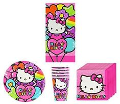 New Sanrio Hello Kitty Rainbow Birthday Party Supplies Pack Bundle Kit Including Plates, Cups, Napkins and Tablecover - 8 Guests by Hello Kitty * You can get more details by clicking on the image.(It is Amazon affiliate link) #comments