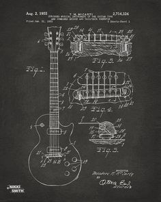 Guitar Print featuring the drawing 1955 Mccarty Gibson Les Paul Guitar Patent Artwork - Gray by Nikki Marie Smith