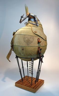 Greg Brothertons Stories Escape and Discovery Where I see a boy scouts backpack sewing machine parts and old musical instruments Greg Brotherton sees bodies for sculpture. Found Object Art, Found Art, Toy Art, Metal Animal, Steampunk Kunst, Arte Robot, Mary Cassatt, Assemblage Art, Recycled Art