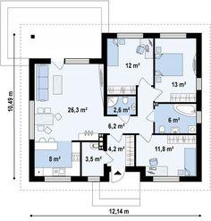 Проект стильного одноэтажного дома в классическом стиле | Дом4м