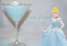 """29 Disney Themed Cocktails You Need to Try ASAP. We love the """"Glass Slipper"""" in particular with blueberry vodka, whipped cream vodka, and cream for a Cinderella themed birthday or bridal shower. Disney Themed Drinks, Disney Princess Cocktails, Disney Mixed Drinks, Frozen Drinks, Party Drinks, Cocktail Drinks, Fun Drinks, Cocktail Recipes, Alcoholic Beverages"""