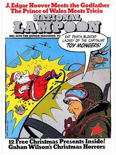 National Lampoon, December 1970. North Korean planes shooting down Santa! http://www.robertnewman.com/the-best-celebrity-santas-on-magazine-covers/