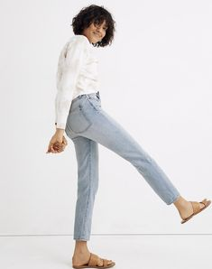 The Petite Curvy Perfect Vintage Jean in Fitzgerald Wash Petite Jeans, Curvy Jeans, Vintage Jeans, Slim Legs, Clothing Items, My Outfit, Supermodels, Madewell, Vintage Inspired