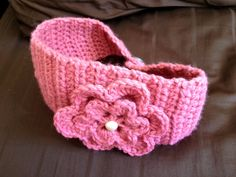 Rose Pink Crocheted Flower Headband w/Vintage Buttons. $15.00, via Etsy.