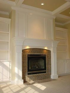 McKee Drabik looks like your built-ins.this could be the solution for the space above your fireplace (paint wall white, then add decorative trim to resemble molding) Fireplace Redo, Fireplace Built Ins, Fireplace Remodel, Fireplace Surrounds, Fireplace Design, Fireplace Trim, Fireplace Bookshelves, Bookcases, My Living Room