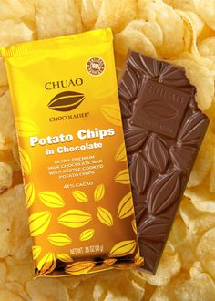 Potato Chips in Chocolate packaging design with bright yellow color. to order packaging contact us.  #emballage #chocolat #chocolate #packaging #emballage #souple #flexible #packaging